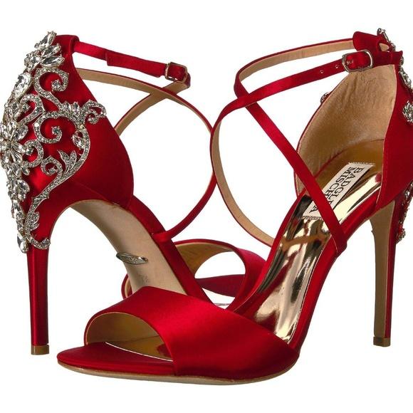 2fd35e91e23 Badgley Mischka Karmen Red Heeled Sandals, size 8